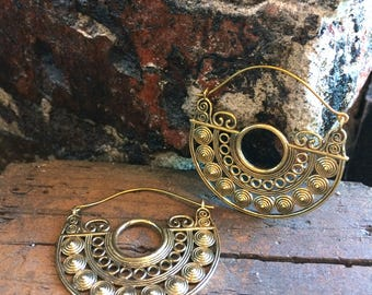 Half Circle Brass Hoops