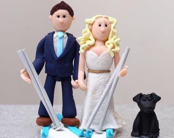 Ski Skiing Personalised Wedding Cake Topper, Polymer Fimo Clay