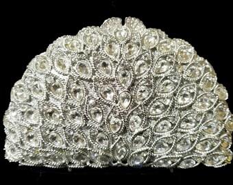 New Silver With Clear Austrian Crystal Leaf -Hard Shell Clutch Evening Minaudiere Handbag