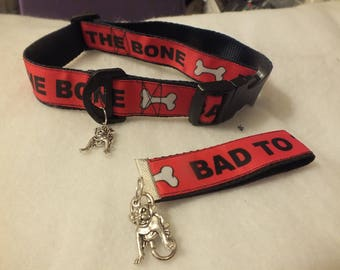 Bad to the Bone pet collar  with free wristlet and dog charm 12 - 19 inches