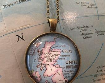 Scotland Map Necklace Glasgow Edinburgh Dundee Aberdeen