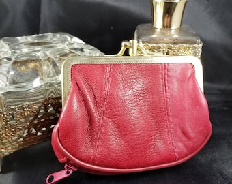 Red Leather Coin Purse with Kiss Lock Openning, Divider in Middle,  and 4 Compartments to Stow Items in.