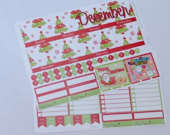 December Monthly Spread Kit Planner Stickers Removable Matte  or Glossy Stickers