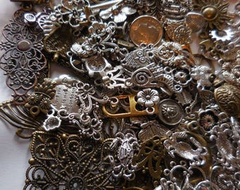 50 c MIXED GRAB Bag Charms Pendants Findings Filigree Silver/bronze tones LOT
