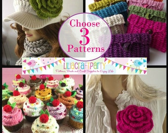 PATTERN DISCOUNT - CHOOSE 3 - Knitting & Crochet Patterns Your choice of 3 patterns Instant Download Tutorials with clear instructions