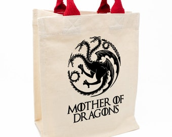 Gift bag. Natural cotton bag with handles various colors 21x26x12cm. Mother of Dragons. Game of Thrones. Mother's Day. Woman