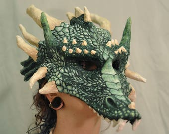 Emerald Dragon Mask Green