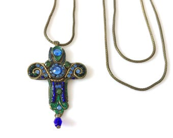 Adaya Pewter Enamel Swarovski Rhinestone Cross Pendant Necklace 22""