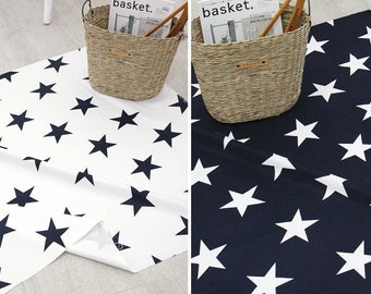Big Stars Oxford Cotton Fabric - Navy and White Stars - Home Decor Fabric - By the Yard 45000