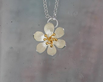 Flower Pendant/ Floral jewellery / Gold and Silver jewellery/Silver flower necklace