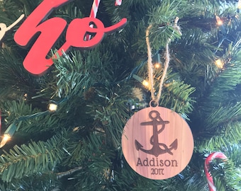 Custom Name Tag Wooden Anchor Ornament |  Nautical Sailor Sea Ocean Present | Personalized Coastal Christmas Gift | Boat Holiday Decoration