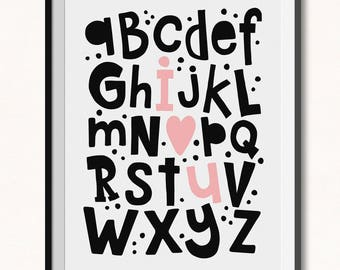 I Love You Alphabet Print / DIGITAL / I hear you Alphabet Printable / I love you Abc's Print / ABC Print / Love Alphabet Poster / Abc's Art