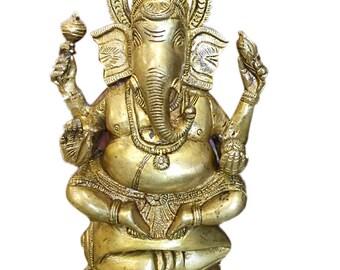Vintage Hindu God Ganesha Brass Statue Vinayak Murti Divine Interior Decor