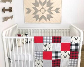 Baby Blanket Nursery Decor Patchwork Quilt Baby Boy Minky Baby Blanket Buffalo Checks Red Black Gray Grey Buck Deer Buffalo Plaid Lumberjack