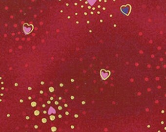 Basic Hearts, Pink, Purple and Gold on Red, by Laurel Burch for Clothworks