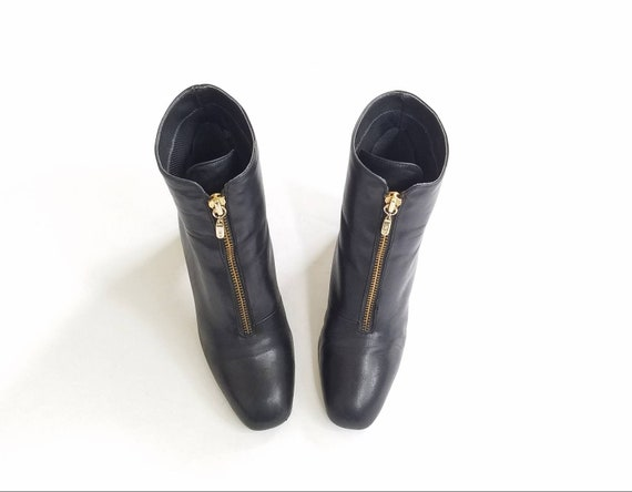 64e00367250 ... Vintage Roxo Bootie 5 West Booties Boots Mod 90s Zippered Nine Hipster  Boot Granny Black Goth ...