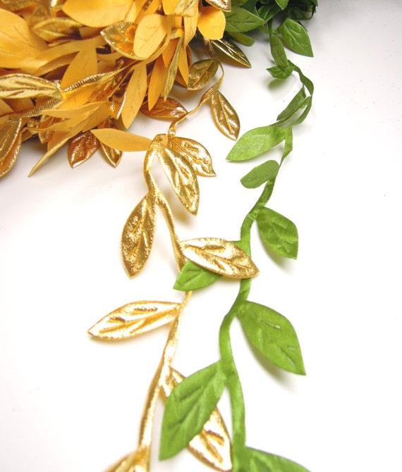 3 yds vine leaf ribbon for crafts  Gold leaf ribbon  Green leaf ribbon  Green leaf garland ribbon  Leaves lace ribbon  Leaf ribbon