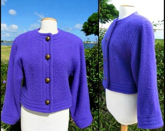 GUY LAROCHE Jacket / fits S / 70s French Designer jacket / Guy Laroche Purple Mohair Jacket / Fr 36 / 70s Purple Jacket