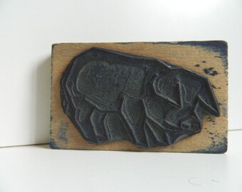 Pig - Old French School Rubber Stamps -
