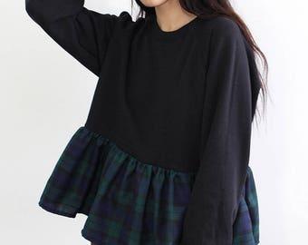 Tartan Ruffle Sweater