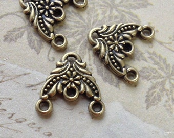 15 x 16 mm Antiqued Bronze (Two-Sided) 1 - 3 Holes Thick Filigree Connectors (.ts)
