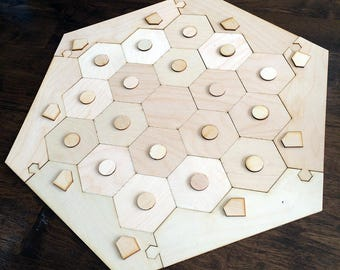 "Blank 3-4 Player Settlers of Catan Game Board with Tokens, Flat Style - Unfinished Birch Plywood 1/8"" or 1/4"""