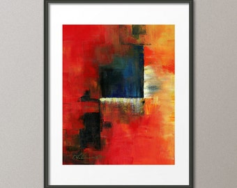 Gallery Canvas and Fine Art Prints Colorful Red Blue Orange Abstract Art Print Modern Elena