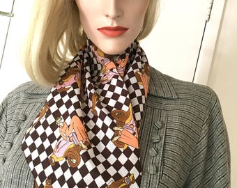 70s Vintage Novelty Print Scarf Checkerboard Fashion Accessory Bias Cut Trapezoid Automobiles Cars Authentic True 1970s