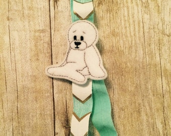 Planner Band - White Seal with Teal Chevron Band