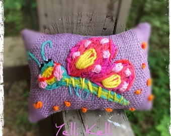 Silly Butterfly Freehand Embroidered Mini Pillow Ready to Ship YelliKelli