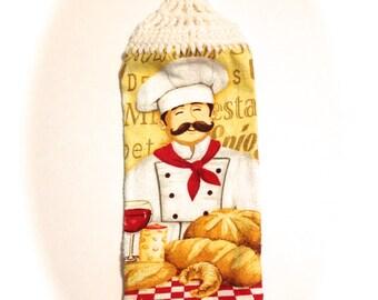Konditor Brot Handtuch mit weißen gehäkelt Top