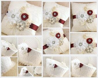 Ring Bearer Pillow, Flower Girl Basket, Burgundy, Ivory, Cream, Lace, Crystal Brooch, Crystals, Pearls, Elegant, Vintage Style, Gatsby