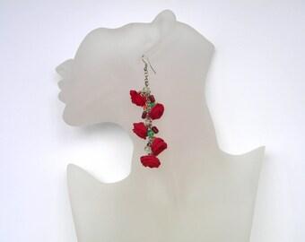 Fabric Red earrings Long earrings Flower earrings Red jewelry Red flower earrings Lightweight earrings Flowers jewelry gifts for women
