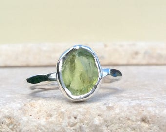 Raw Peridot Silver Ring, US 6, Raw Stone Ring, Peridot Ring, Rough Gemstone Ring, Natural Gemstone Silver Ring, August Birthstone Ring