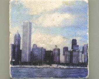 Chicago Blue Skyline Original Coaster