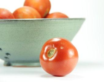 Berry Bowl, Strainer Bowl, Pasta Colander, Ceramic Strainer, Fruit Bowl, Ceramic Colander, Pottery Berry Bowl, Blue Strainer, Green Ceramic