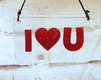 Fused Glass I Love You, Hanger, Romantic Gift, Txt Speak, text speak, Heart, Glass Gift