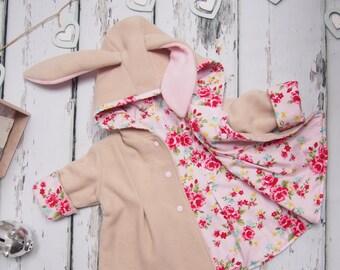 Baby girls clothing etsy uk bunny jacket girls clothing baby girl bunny coat animal jacket hood negle Images