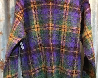 Vintage Purple Plaid Sweater