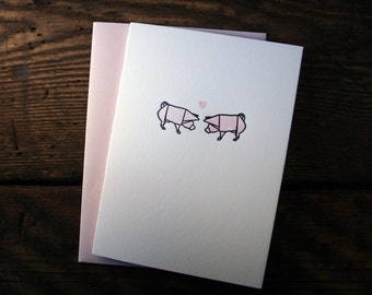 Letterpress Printed Origami Pigs in Love - single