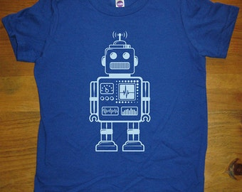 Robot Shirt - Retro Robot Kids Shirt - 8 Colors Available - Sizes 2T, 4T, 6, 8, 10, 12 - Gift Friendly Great Christmas gift for boy or girl