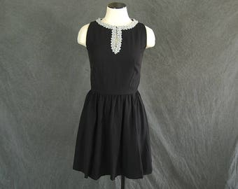 vintage 60s Party Dress - 1960s Metallic Silver trimmed Black Dress Mini Dress Sz XS S