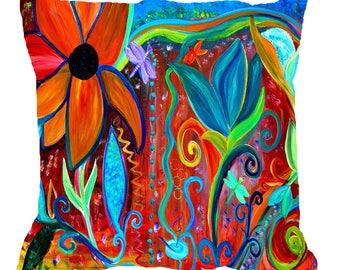 Retro floral art intuitive art throw pillow case from my art