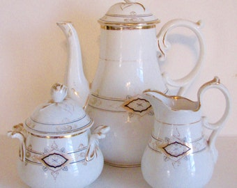 Antique Set Coffee Carl Tielsch Altwasser German Porcelain