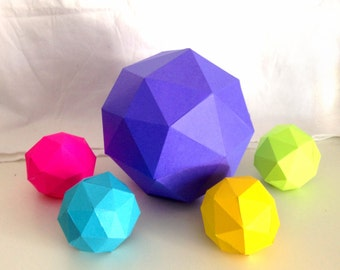 Balls 3d papercraft. You get a PDF digital file with templates and instruction of DIY papercraft minimalist balls.