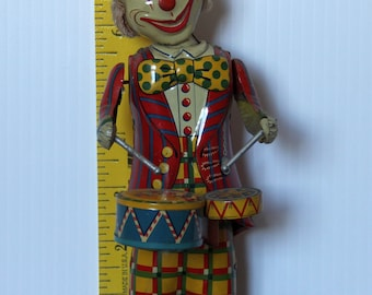 Windup Tin Toy Made by Alps in Japan Clown With a Drum