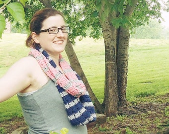 CLEARANCE - Pink, Grey, & Navy Striped Infinity Scarf || Crochet Striped Circle Scarf || Crochet Cowl