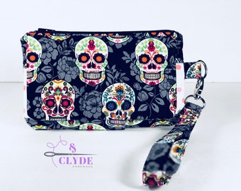 Sugar Skulls, Swoon Pearl Wallet Clutch Wristlet, Sugar Skull Purse