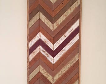 Reclaimed lath wood wall decor