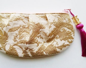 Lena Pink and Gold Tassel Purse